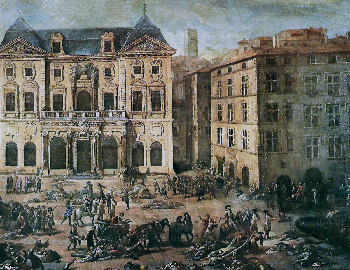 Painting of a death scene in front of the town hall during the plague of Marseille.