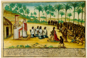 Drawing of Capuchin missionary celebrating mass in the Kingdom of Kongo.