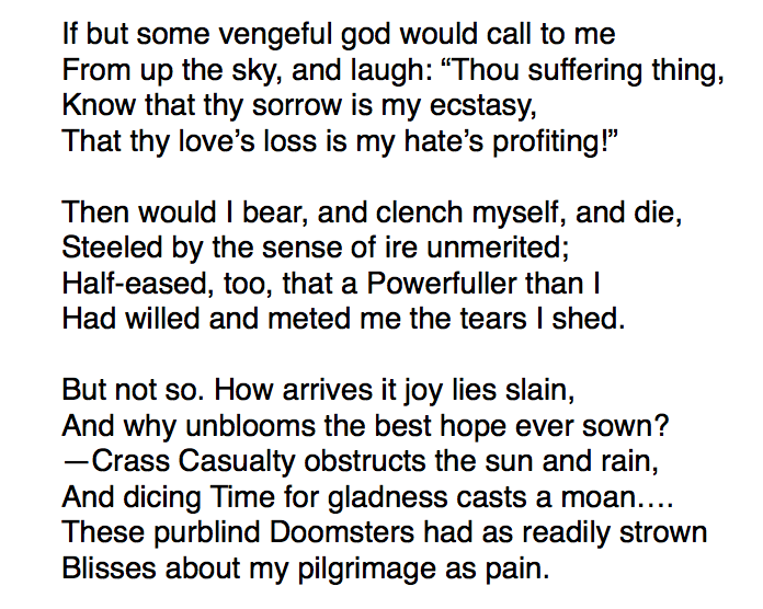 Verses of the poem Hap by Thomas Hardy.