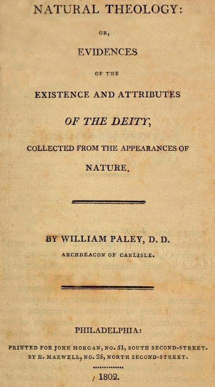 Cover of Natural Theology by William Paley.