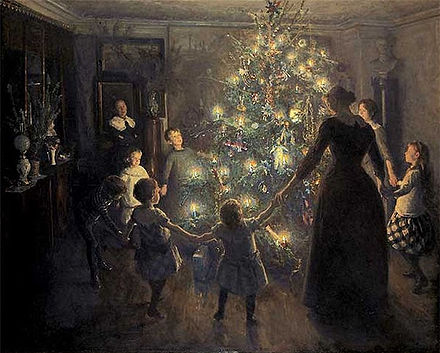 Painting of a family holding hands around a Christmas tree.