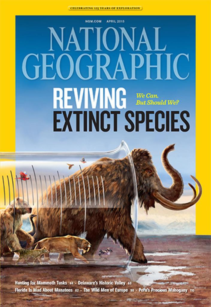 Cover of the National Geographic featuring extinct species.