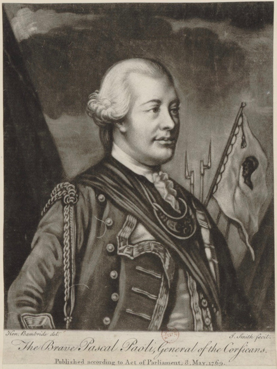 Engraving of Pascal Paoli, General of the Corsicans.