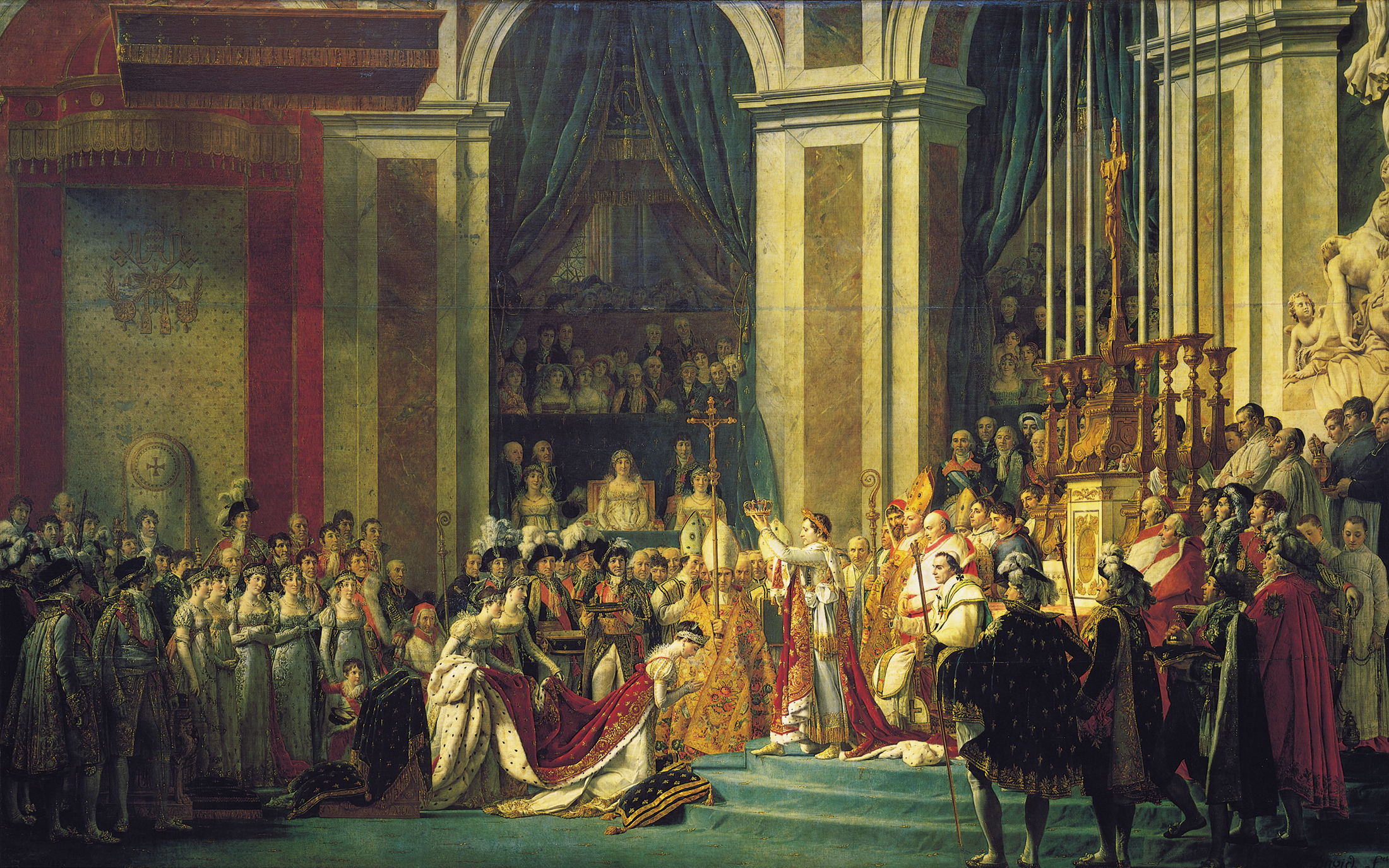 Painting of Napoleon crowning Joséphine.