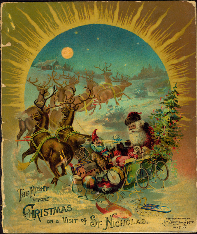 Book cover with St Nicholas riding a sleigh pulled by reindeers.