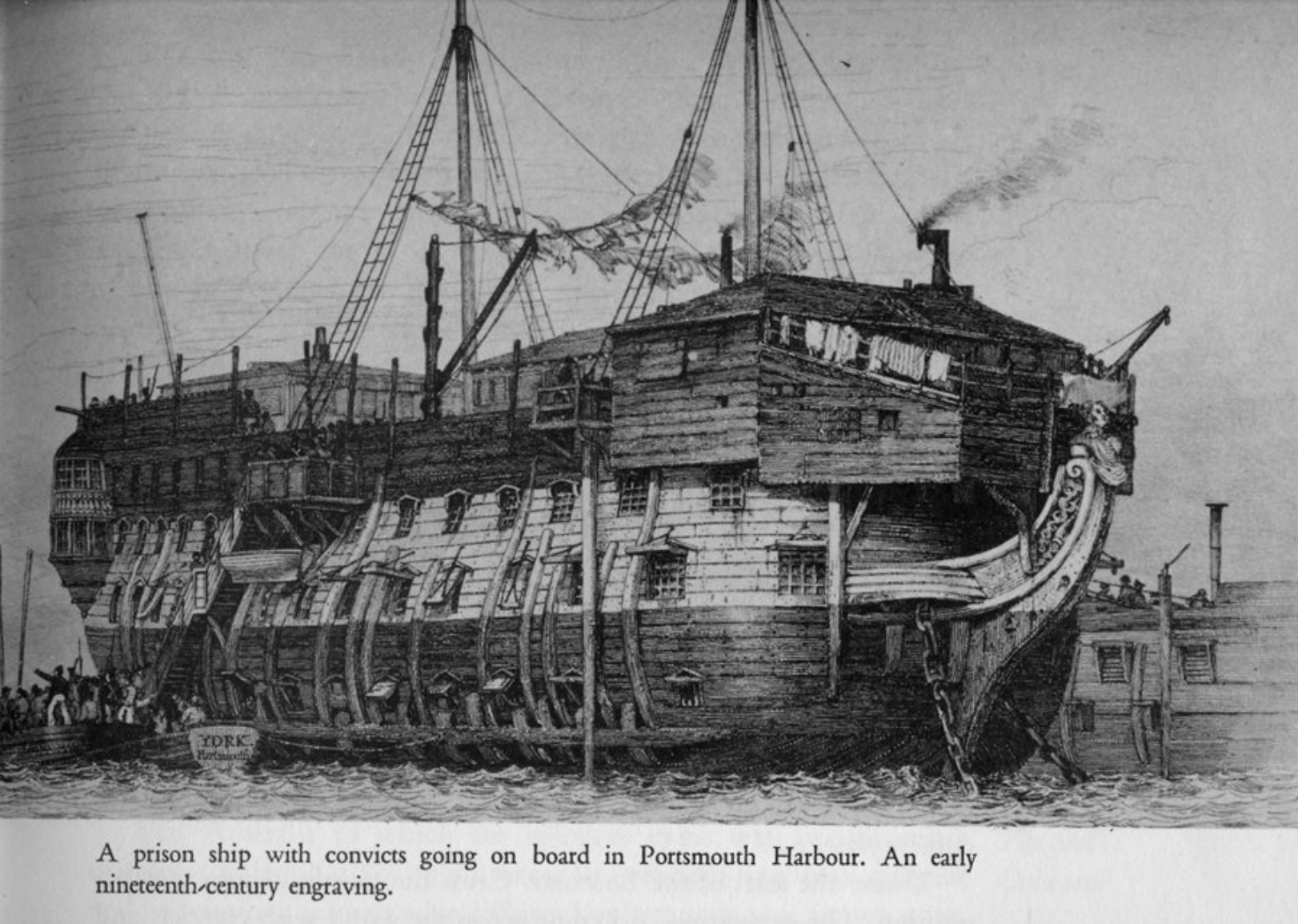 Illustration of a prison ship with convicts boarding.