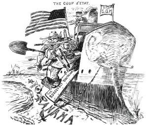Illustration of Roosevelt disembarking a boat in Panama.