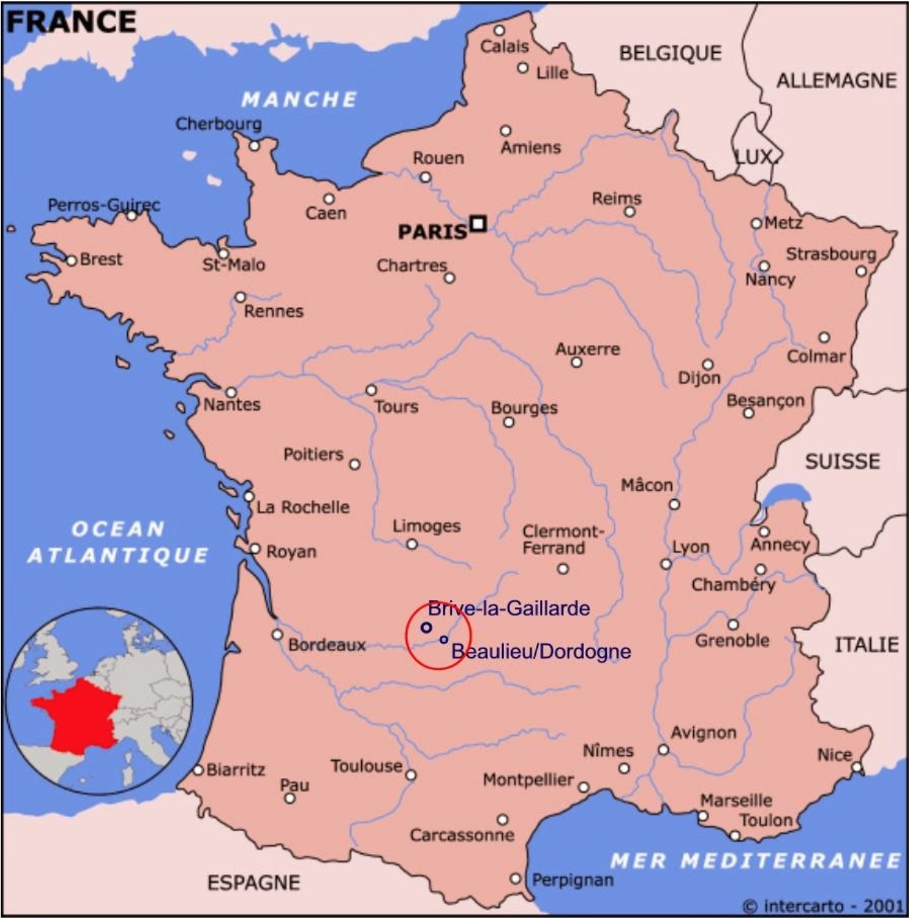 Map of France highlighting the location of Brive-la-Gaillarde and Beaulieu.