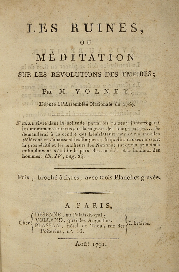 Title page of Volney's 1791 French edition.