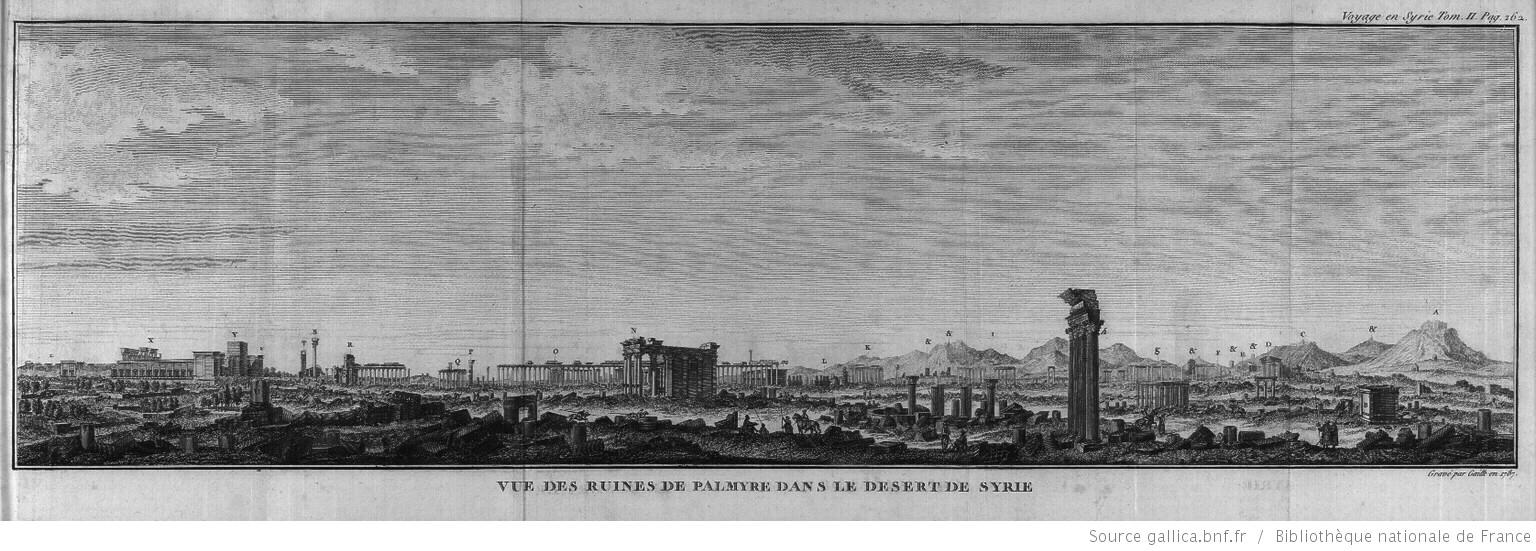 Eighteenth century engraving of the ruins of Palmyra.