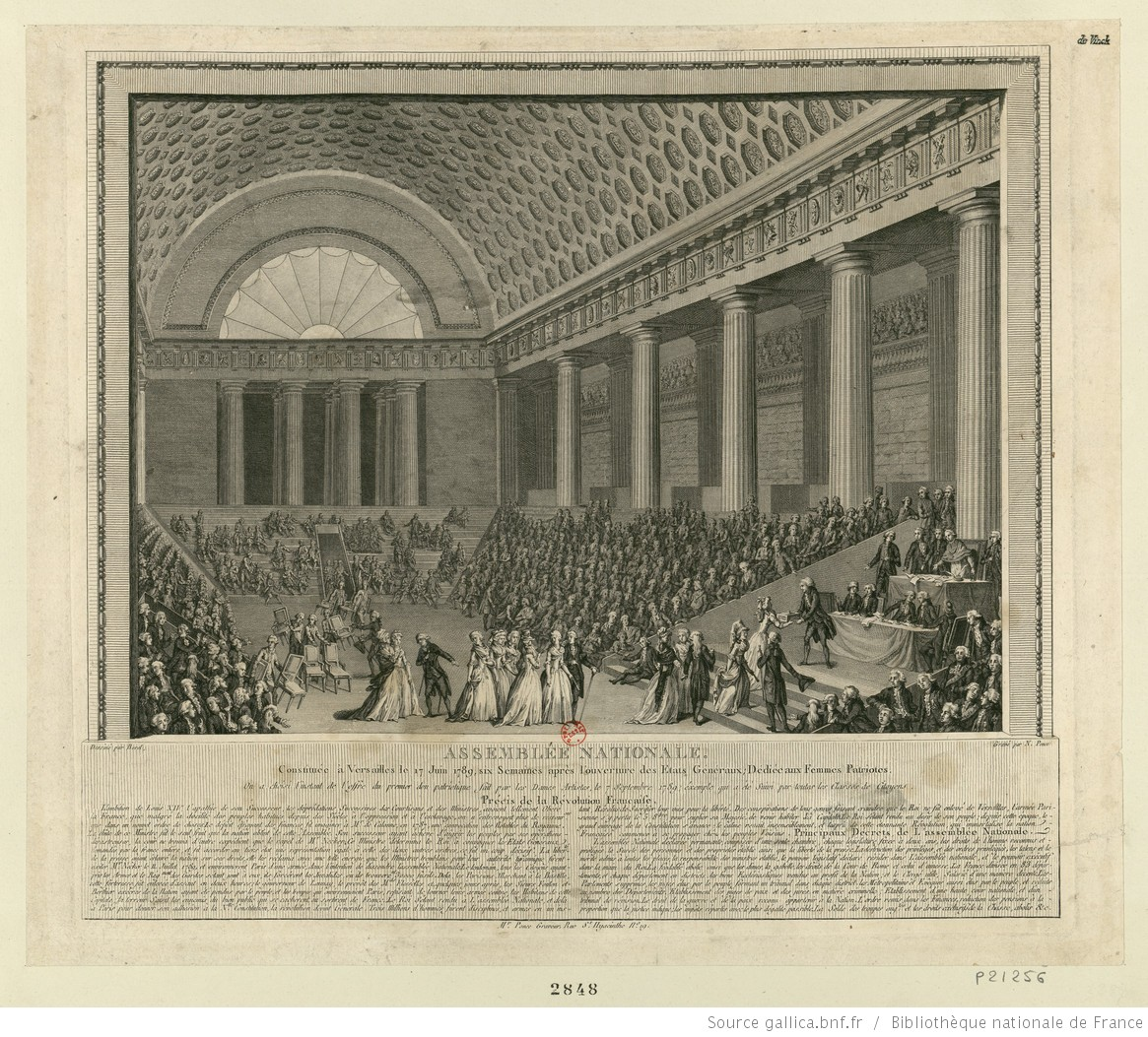 Engraving of the National Assembly gathered in a large room at Versailles.
