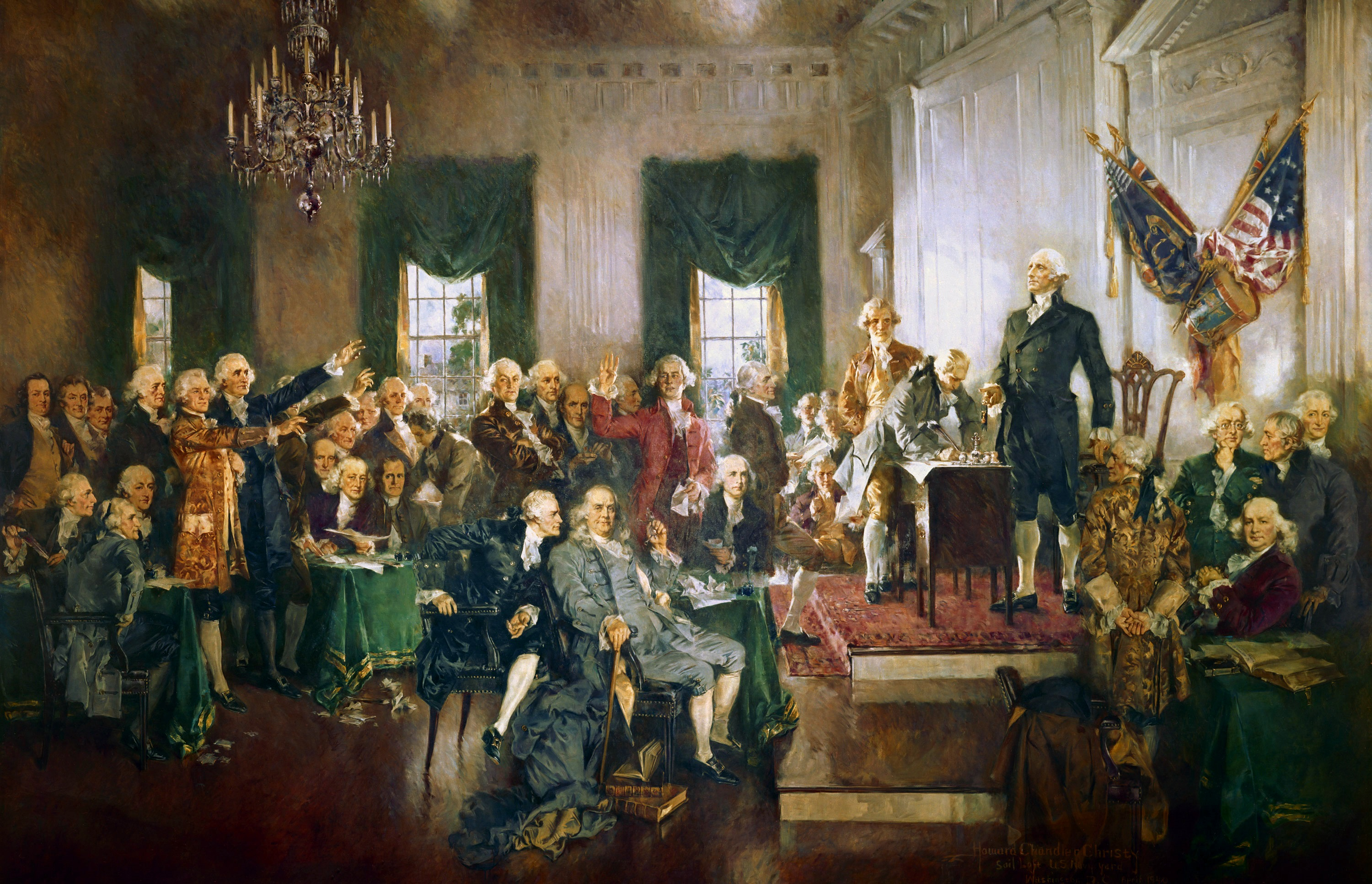Painting of the signing of the American Constitution.