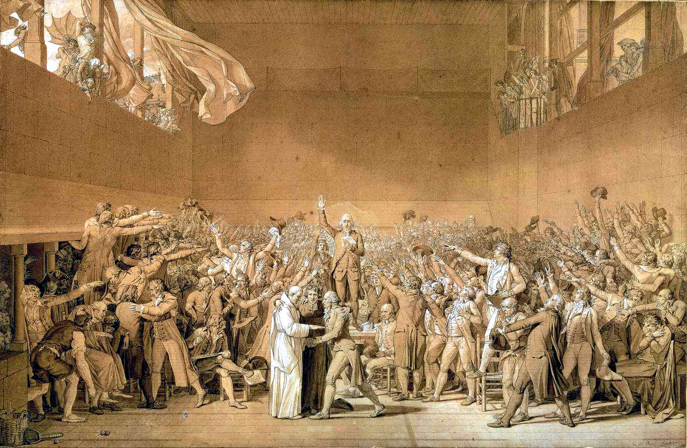 Engraving of men gathered in a large room for the Tennis Court Oath.