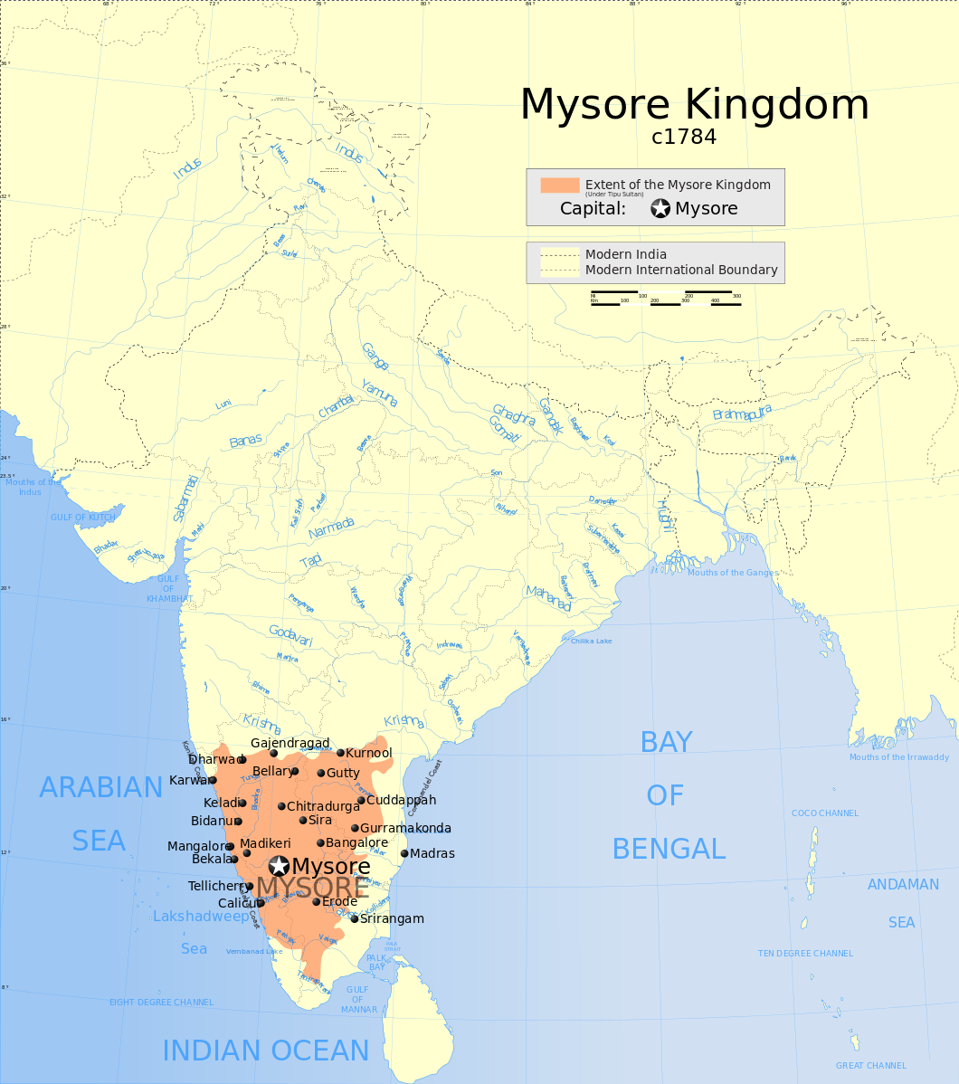 Map of India, highlighting the Mysore Kingdom in the South.