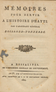 Title page of Dessalines' Memoirs.