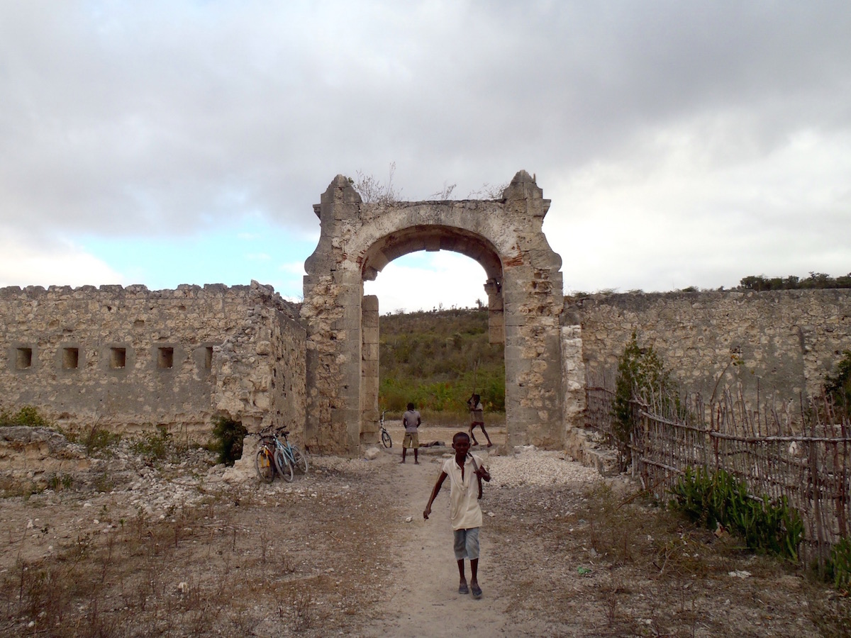 City walls and gate falling into ruin.