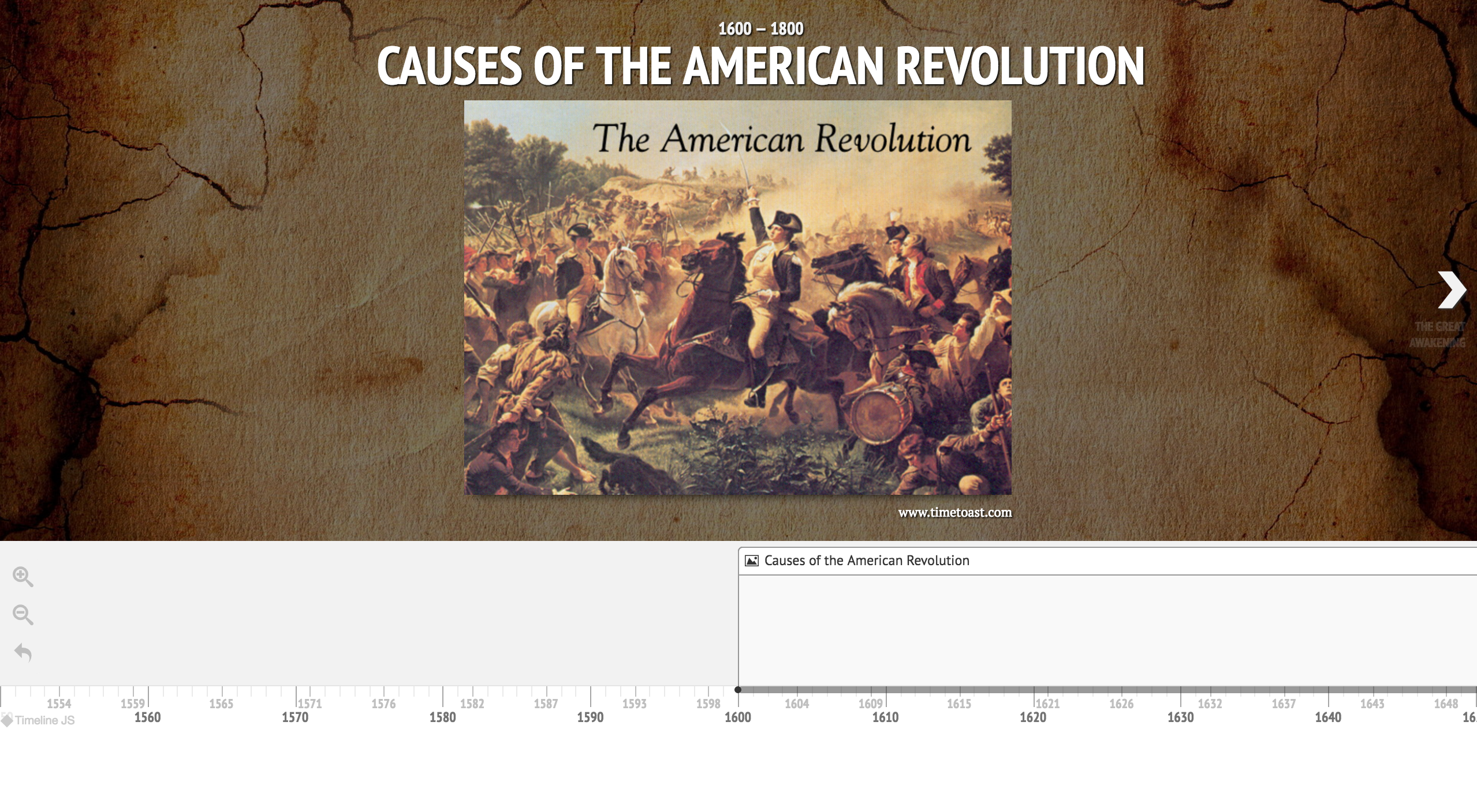 Screen shot of the Causes of the American Revolution Project featuring a painting and a timeline.