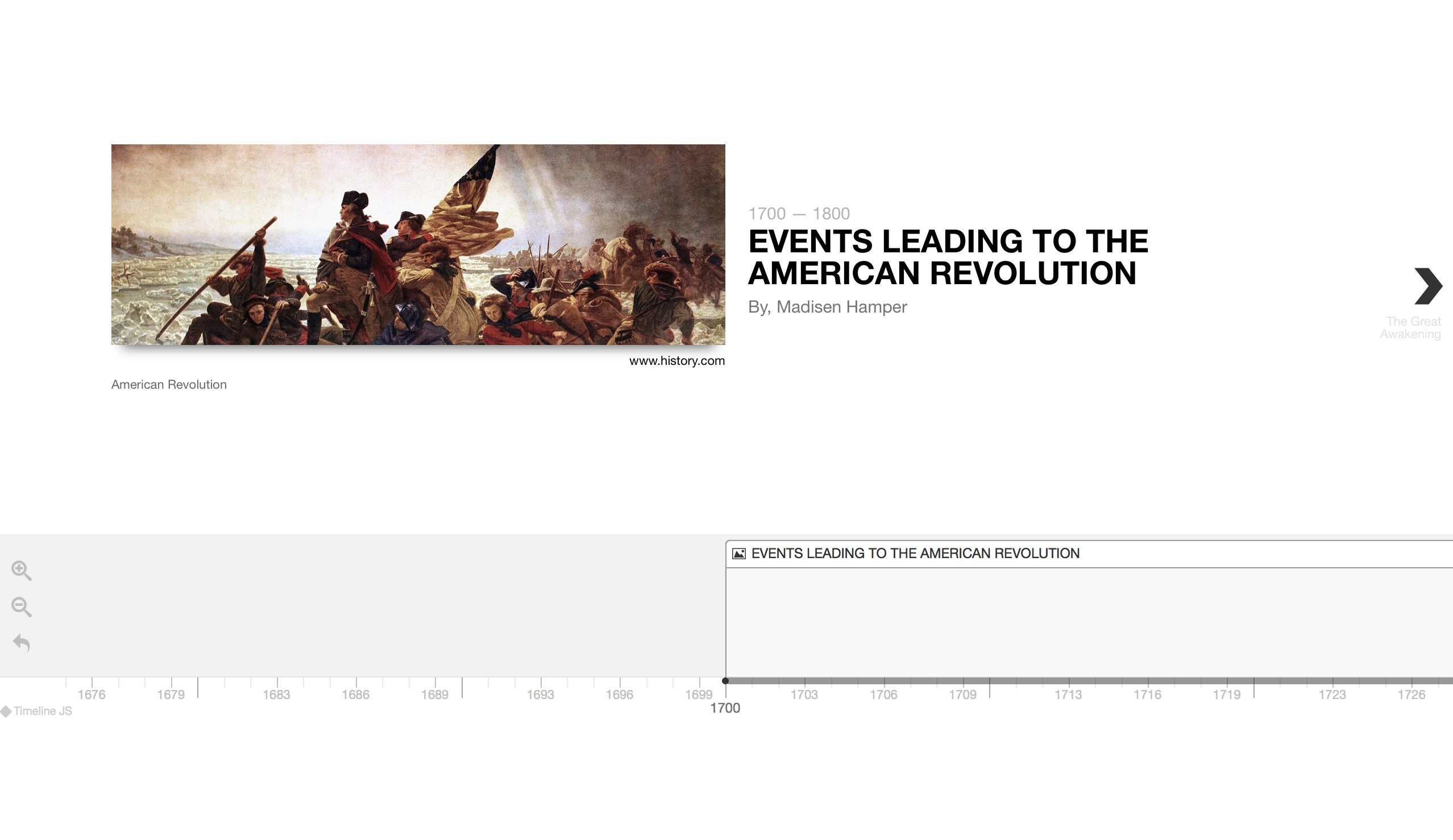 Timeline of the events leading to the American Revolution.