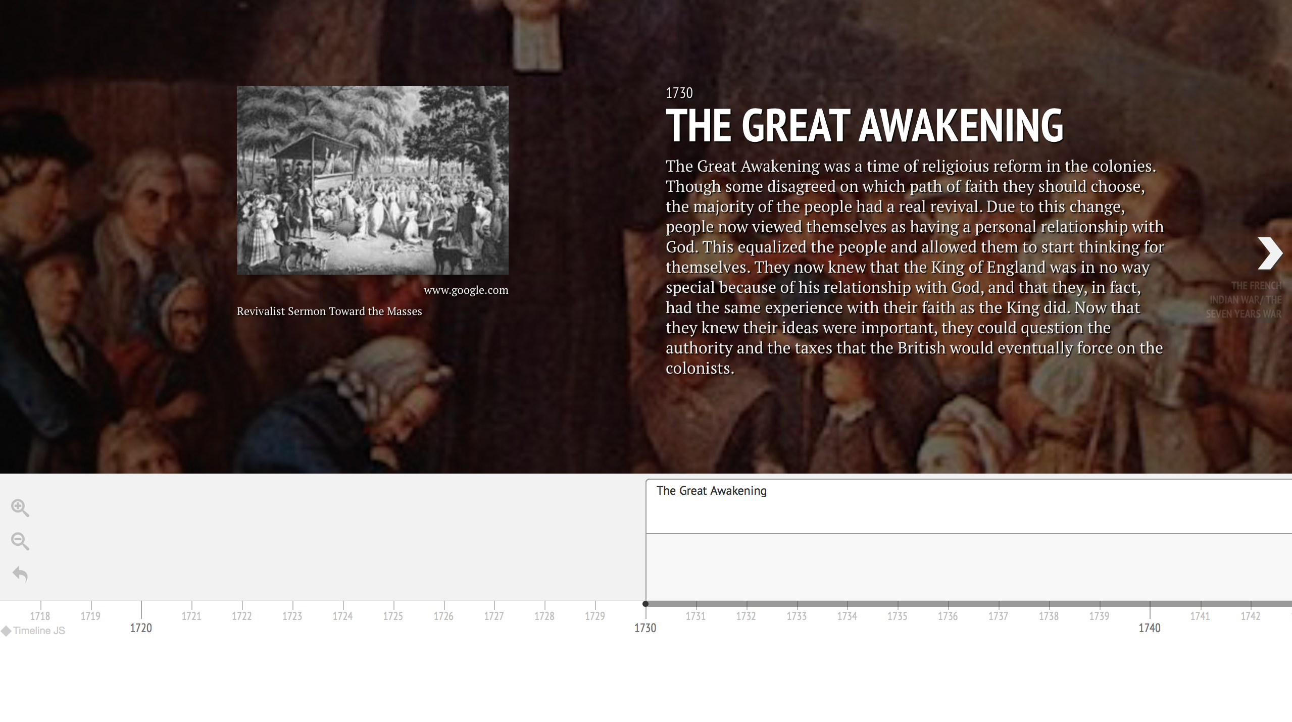 Timeline of the Great Awakening.