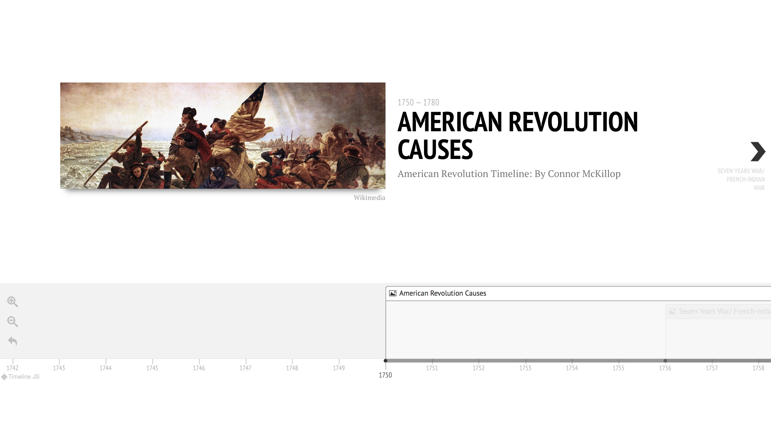 Timeline of the causes of the American Revolution.