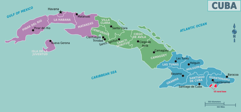 Map of modern-day Cuba.