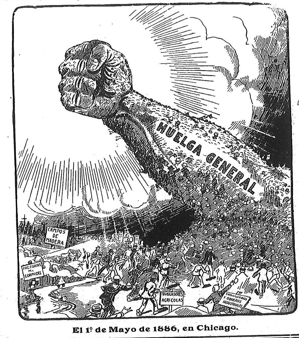 "Drawing of a crowd in the shape of a raised fist with the caption ""general strike"""