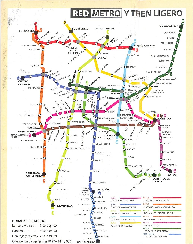 Metro Map of Mexico City.