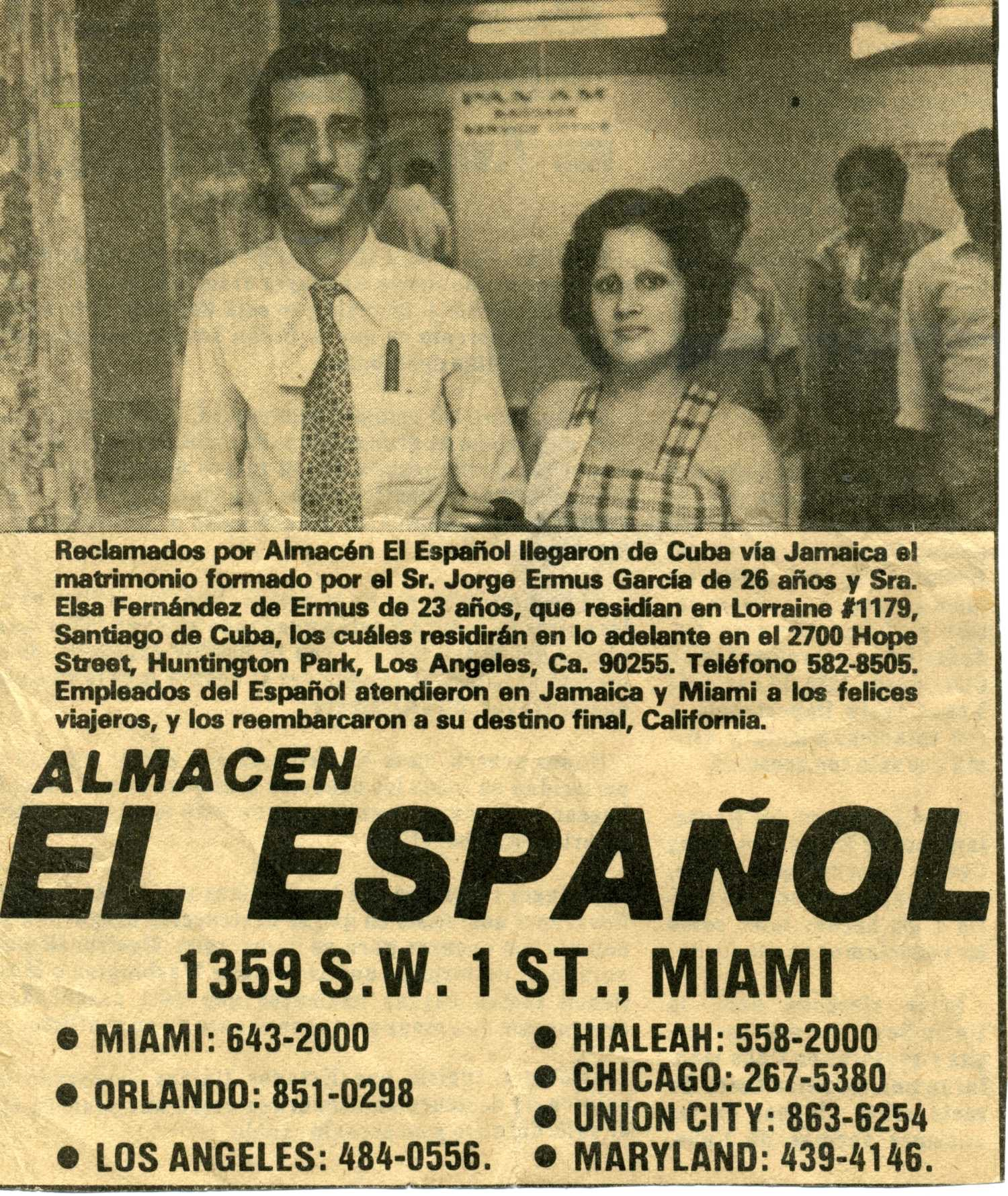 Newspaper add featuring a picture of Jorge and Elsa Ermus at an airport.