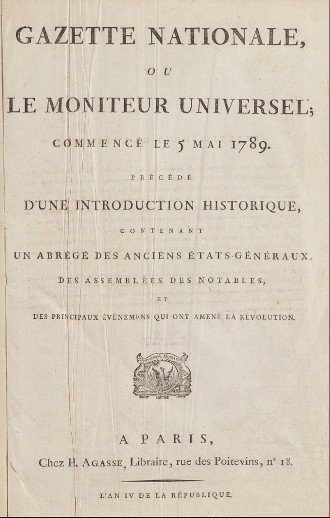 Cover Page of the Gazette Nationale, 1789.