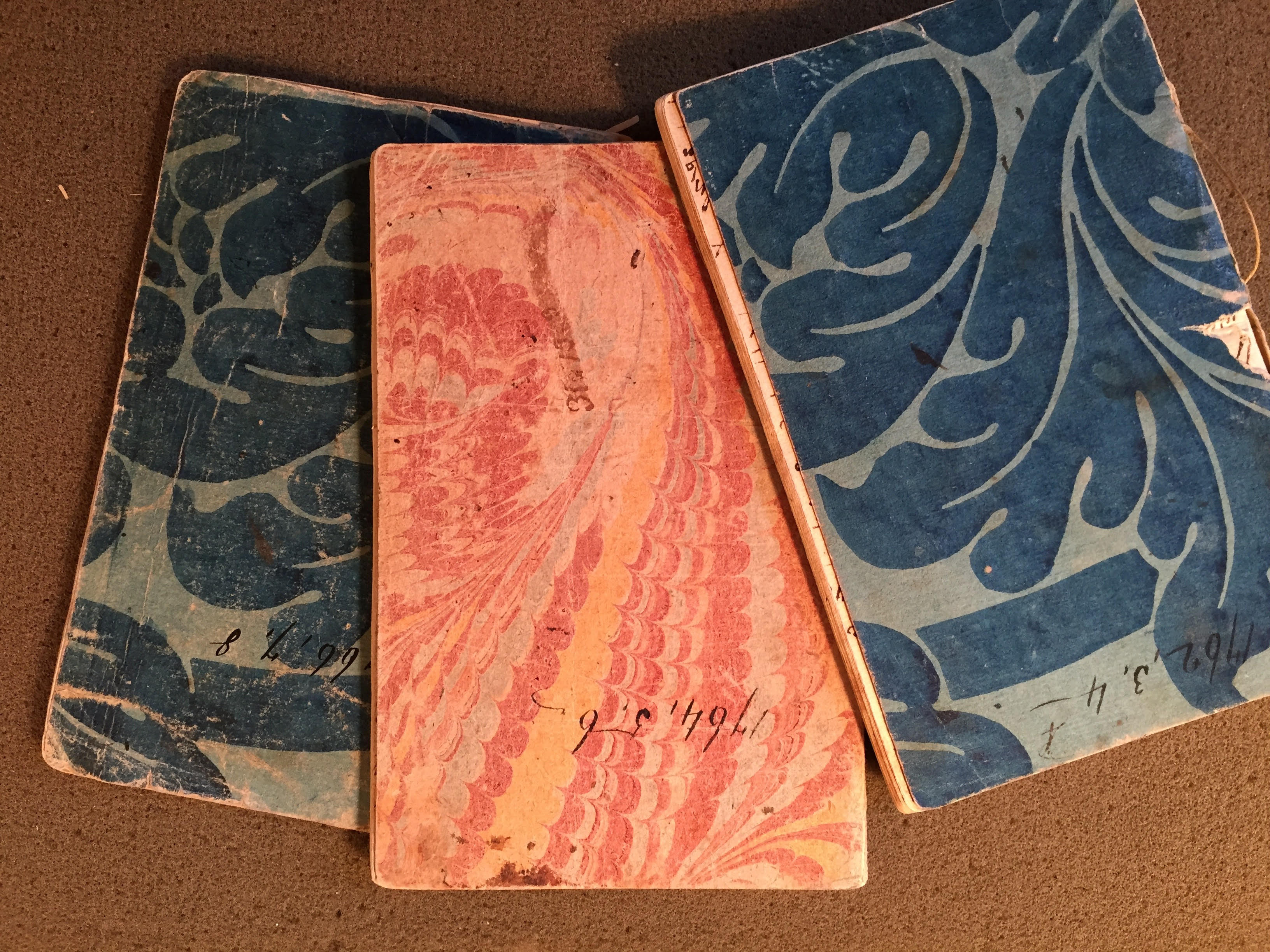 Two blue diaries, one pink diary.