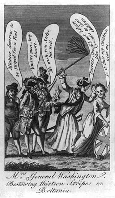 Mrs Washington whipping a woman representing Britain.