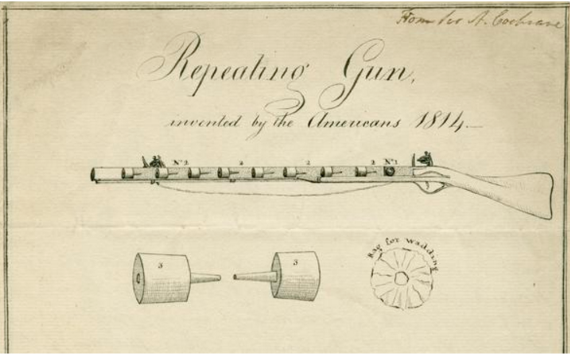 Drawing of a repeating gun.