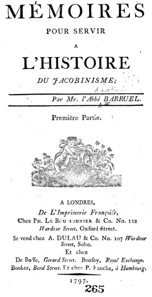 Title page of the Memoires pour servir à l'histoire du Jacobinisme by l'Abbé Barruel.