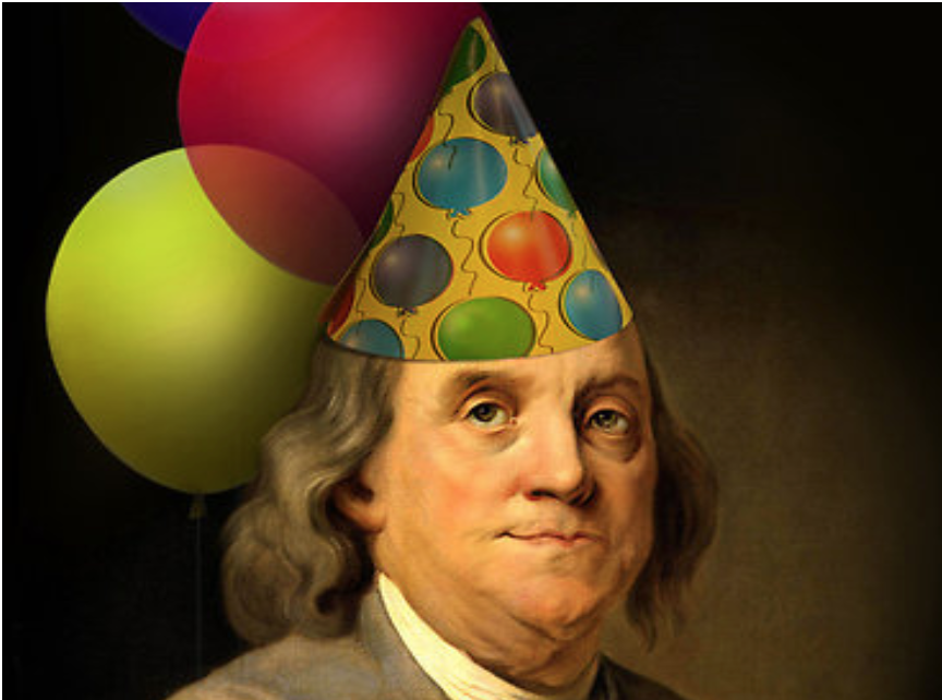 Portrait of Benjamin Franklin wearing a birthday hat and balloons.