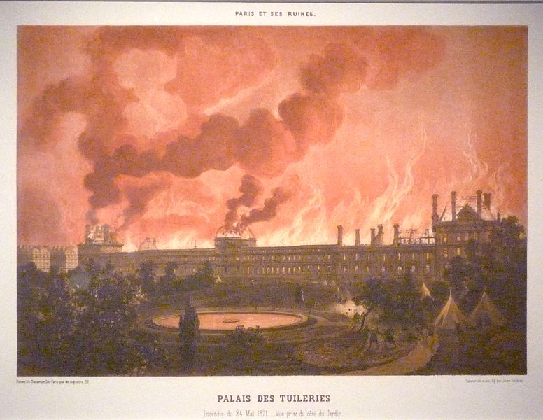 Engraving of the Palais des Tuileries on fire.