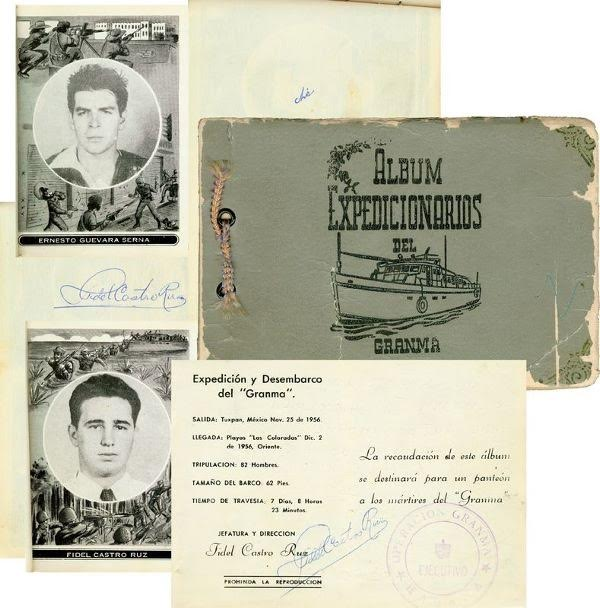 Commemorative album with portraits of Ernesto Serna and Fidel Castro.