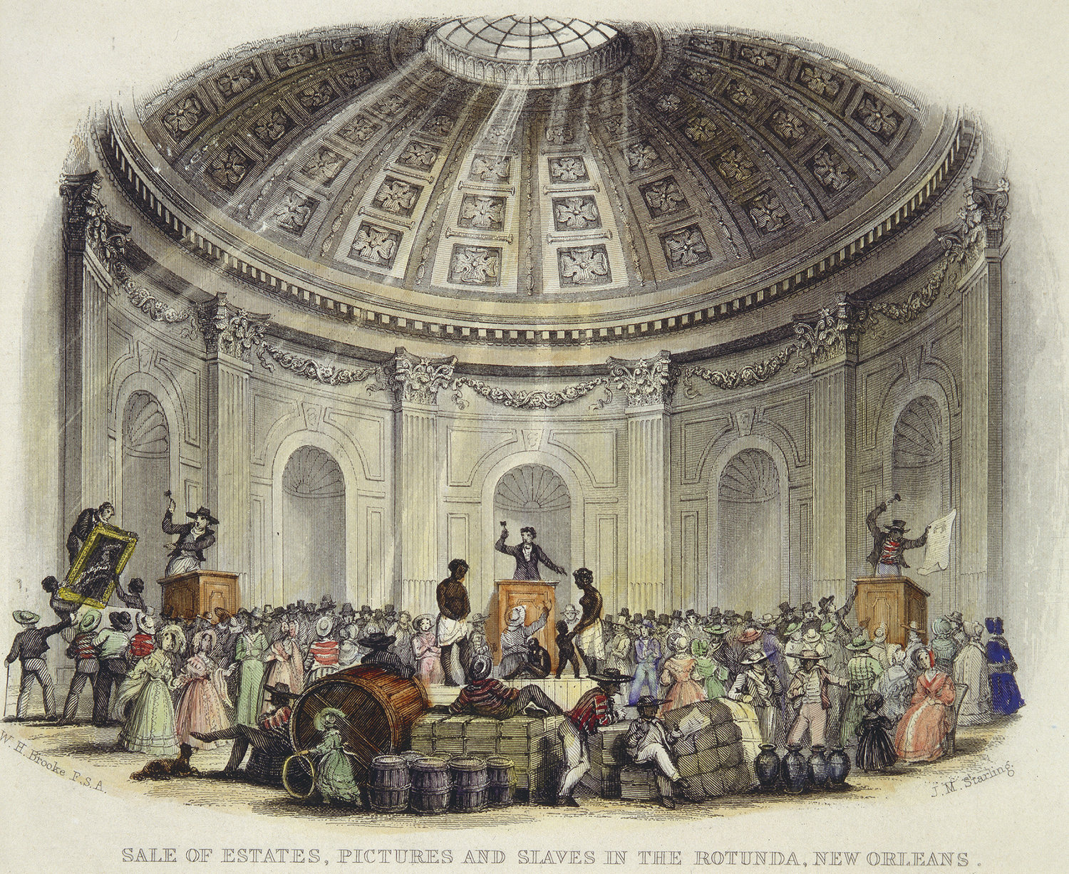 Drawing of an auction of slaves, artwork and goods.