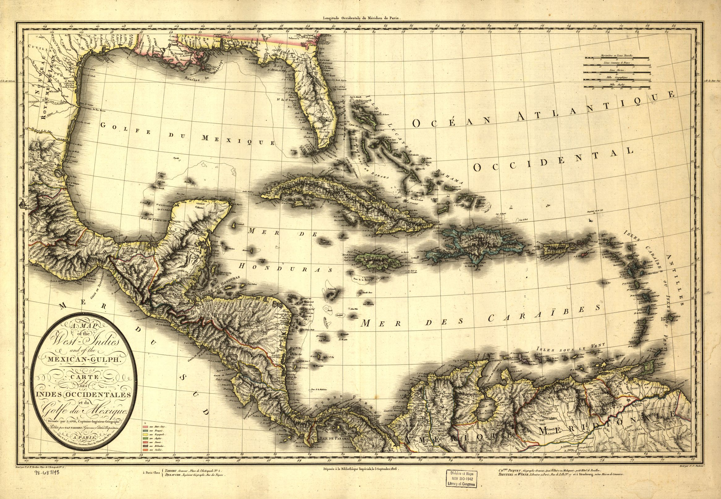 A map of the West Indies and the Mexican Gulf.