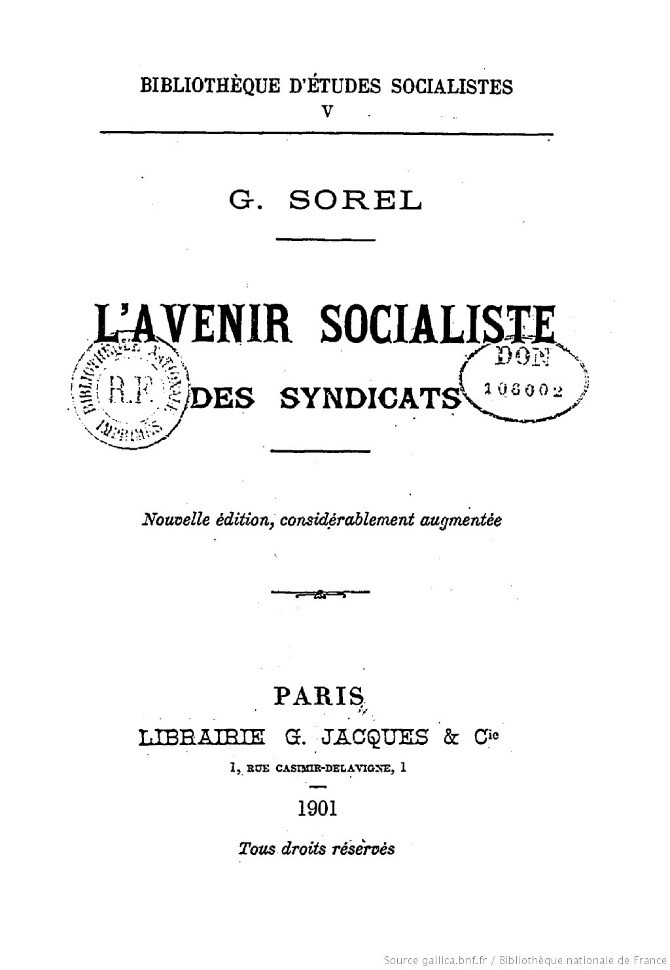 Title page of L'Avenir Socialiste des syndicats by George Sorel.