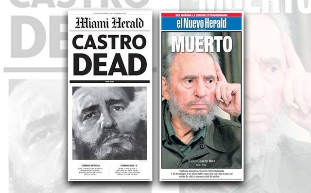 Two newspapers covers about the death of Castro.