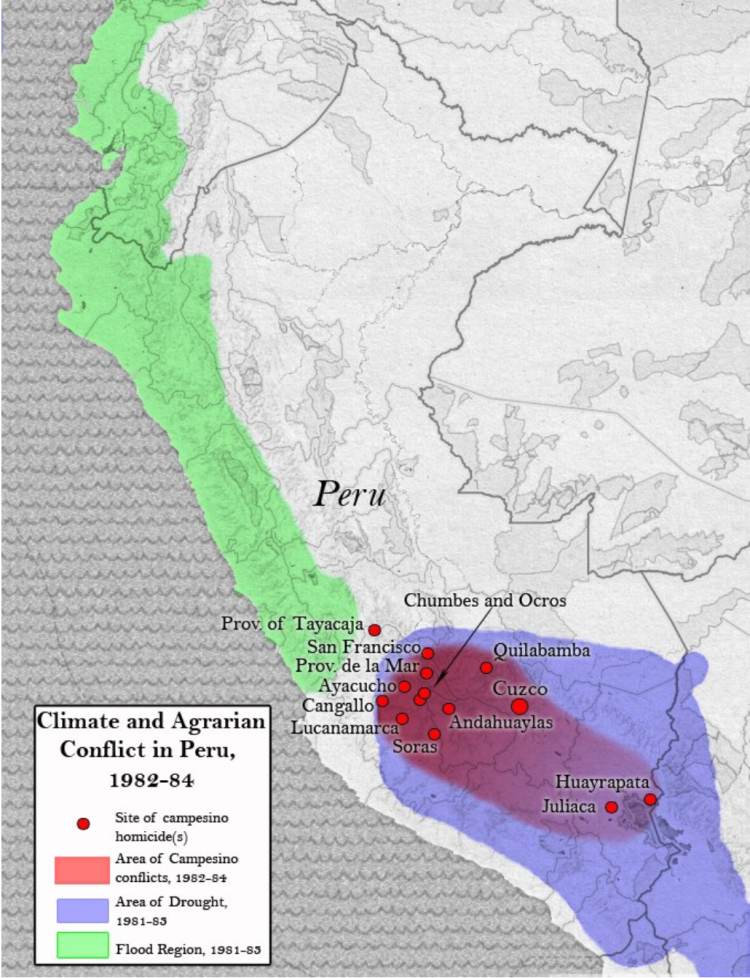 Map of Peru highlighting climate and agrarian conflict between 1982 and 1984.