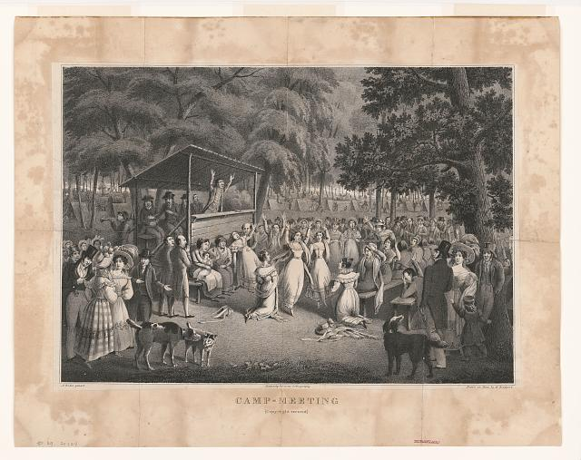 Drawing of a crowd gathered for religious worship.