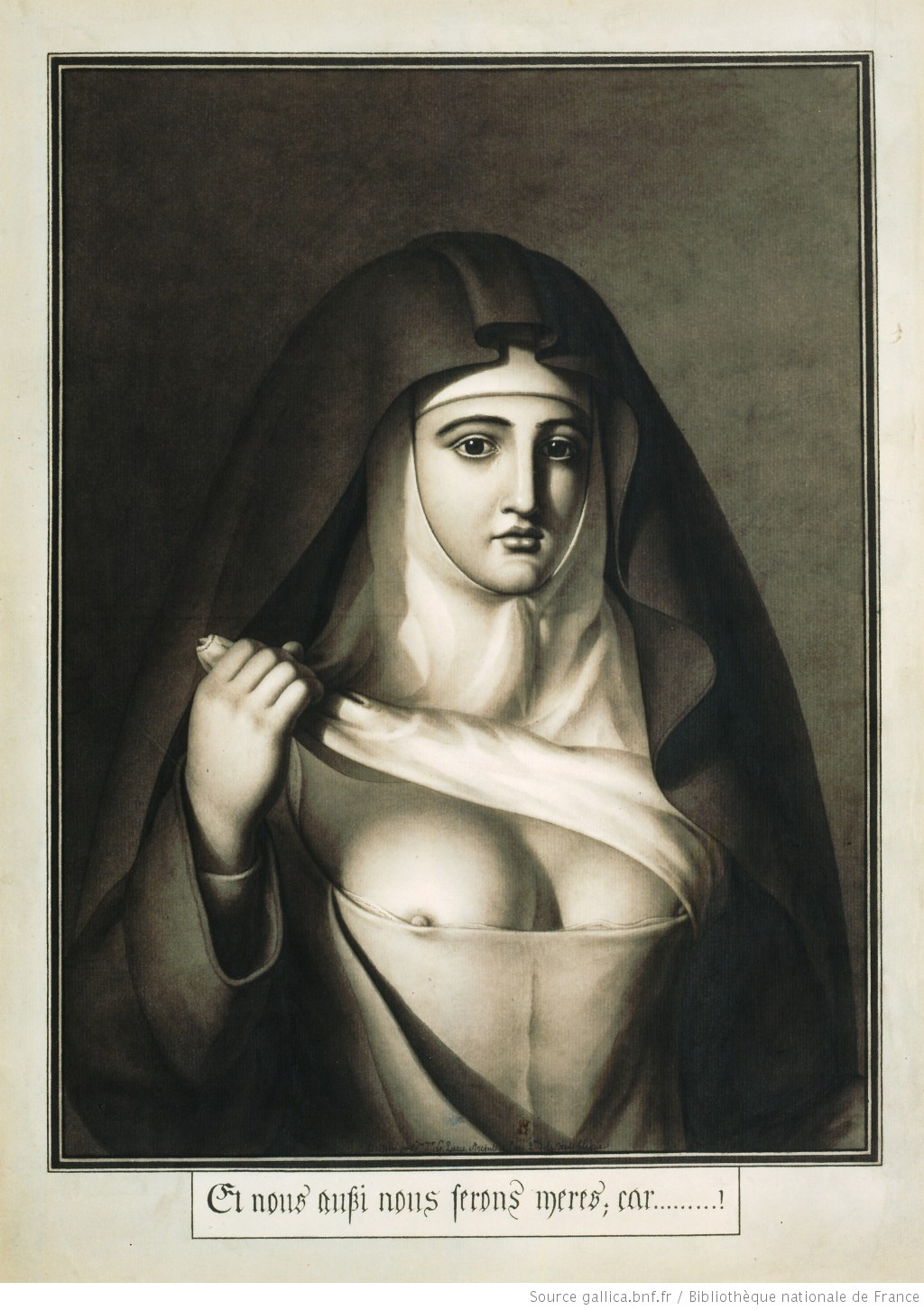 Drawing of a nun showing one of her breasts.
