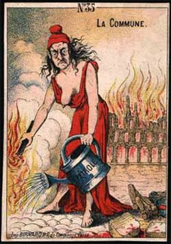 Caricature of a woman pouring gas on a fire.