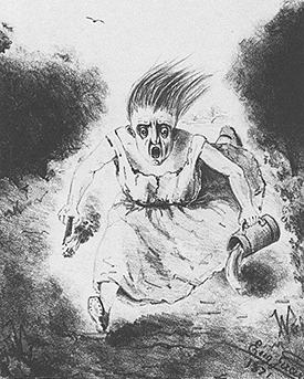 Drawing of a woman running and pouring liquid.