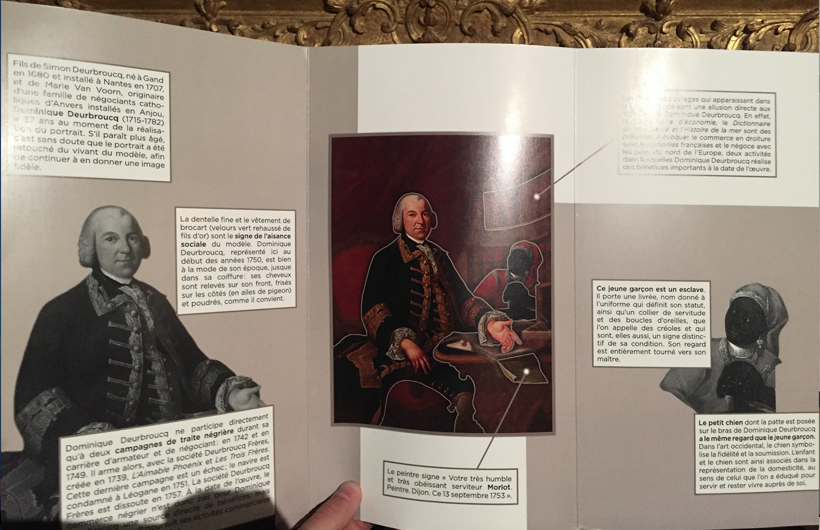 A booklet explaining the details of the portrait of Dominique Deurbroucq.