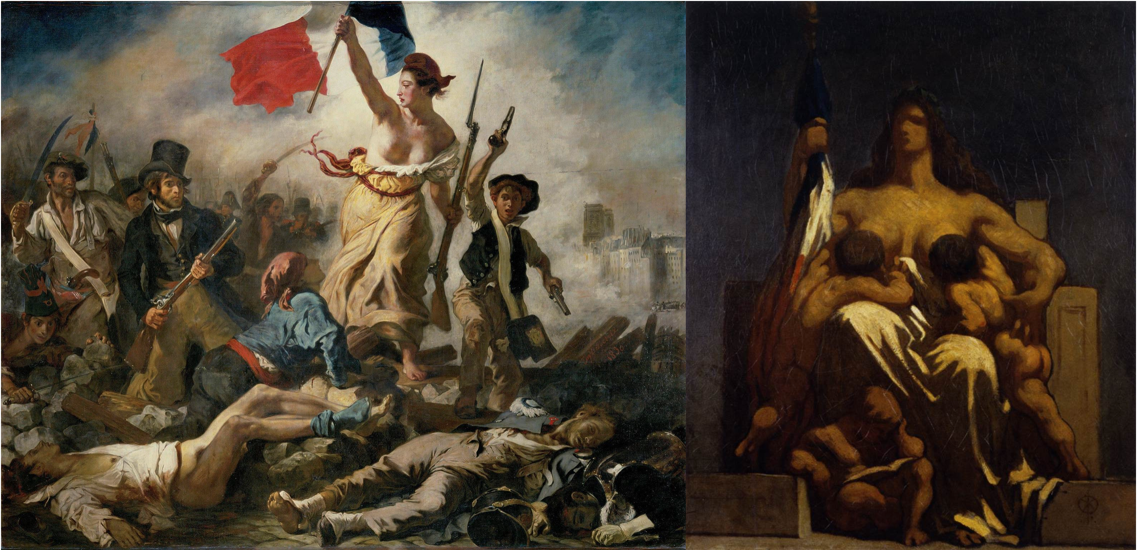 Painting of a woman holding a French flag leading the people on the right, on the left painting of a woman sitting on a throne holding a French flag and breastfeeding two children.