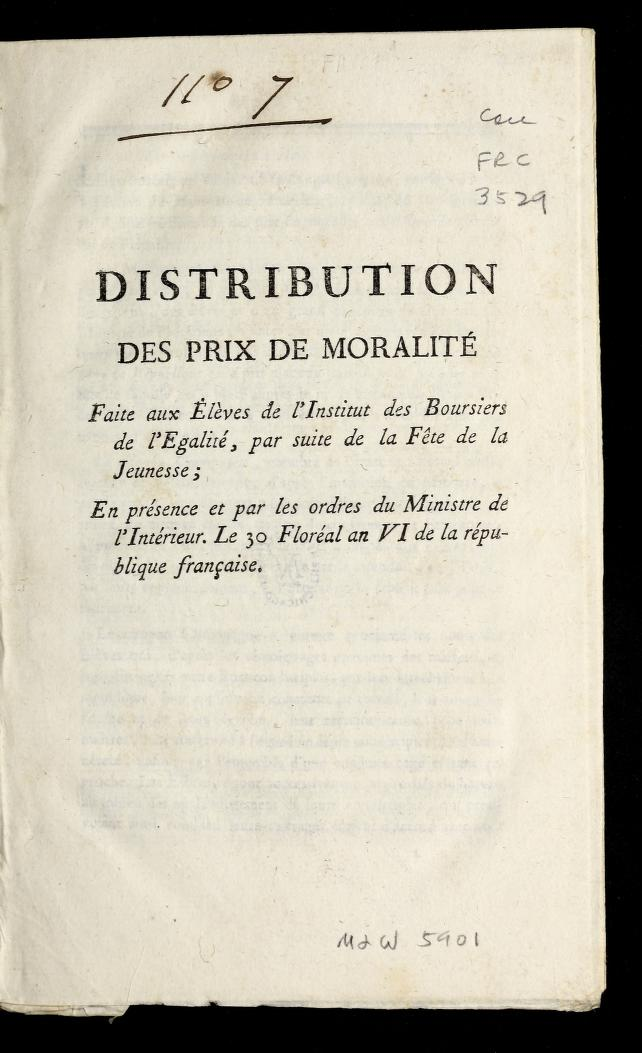 Title page of a book about distributing prizes for morality.
