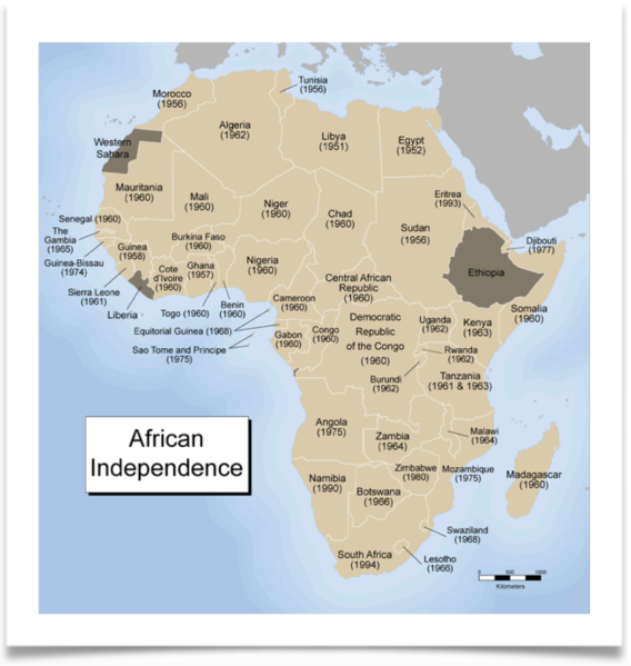 Map of Africa with the date of Independence for each country.