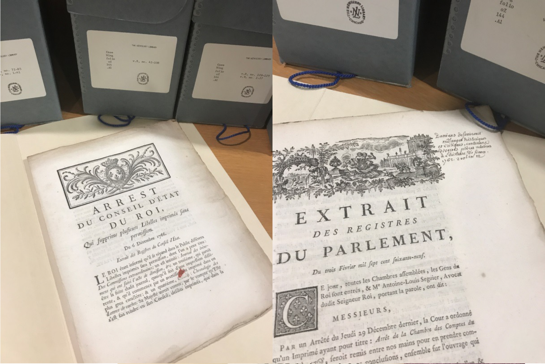 Two documents from the Newberry collection of French Revolution pamphlet.